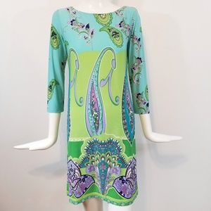London Times Colorful Print Stretch Paisley Dress4